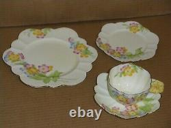 Rare Paragon Flower Handle Cup Saucer Bread Plate Salad Plate 4 Piece Set