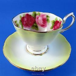 Rare Royal Albert Bright Yellow Rainbow Old English Rose Tea Cup and Saucer Set