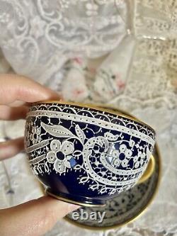 Rare Salviati Murano China Lace Tea Cup &Saucer set cobalt blue Italy #5