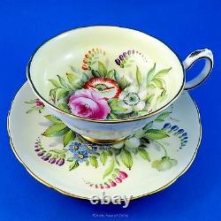 Rare Signed D. Miles Handpainted Floral Grosvenor Tea Cup and Saucer Set