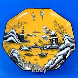 Rare Yellow and Black Oriental Scene Crown Staffordshire Tea Cup and Saucer Set