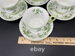 Royal Albert Green Shamrock Tea Cup Saucer Set x 4 Bone China England