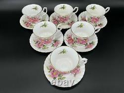 Royal Albert Prairie Rose Tea Cup Saucer Set x 6 Bone China England