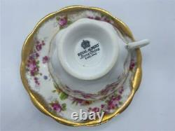 Royal Albert Tea Cup and Saucer Set Pink Roses, Flowers and Heavy Gold