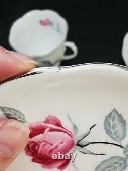 Royal Albert Trent Rose Tea Cup & Saucer Tennis Snack Set of Three Bone China