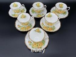 Royal Albert Yellow Tea Rose Tea Cup Saucer Set x 6 Bone China England