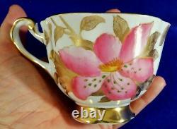 Royal Chelsea England PINK & 24K GOLD Floral Porcelain Tea Cup & Saucer Set