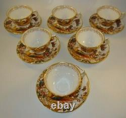 Royal Crown Derby Old Avesbury Footed Tea Cup & Saucer c1975 Excellent Set of 6