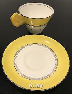 Royal Paragon Flower Handle Yellow Tea Cup Saucer Set Rare