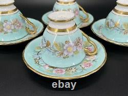 Royal Stafford Garland Blue Espresso Coffee Cup Saucer Set x 4 Bone China Rare