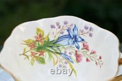 SHELLEY Wild Flowers Blue Stratford Tea Cup And Saucer Set Gold Trim Bone China
