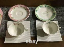 Sanrio Hello Kitty Pair Tea Set Cup and Saucer Pink & Green MADE IN JAPAN