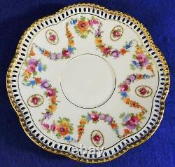 Schumann Bavaria Germany Floral 24K Gold Trim Reticulated Tea Cup & Saucer Set