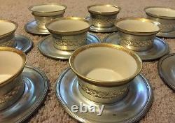 Set Of 10 Baldwin Gorham Sterling Silver Tea Dessert Cup Saucer Lenox Not Scrap