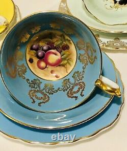 Set Of 3 Mismatched Tea Cup Saucer Plate Sets Yellow Paragon, Aynsley Fruit