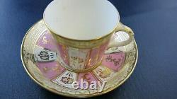 Set of 4 Old Paris Porcelain Pink & Gold Tea Cup Saucer