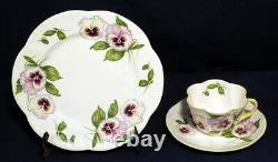 Shelley Bone China Pansy 13823 Tea Cup + Saucer + Dessert Plate Trio Set Dainty