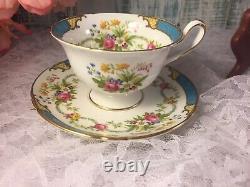 Shelley Dubarry Blue Aqua Turquoise Fine Bone China Tea Cup and Saucer Set #244