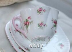 Shelley Hand Finished Bridal Rose Tea Cup, Saucer & Side Plate Trio Set 13545