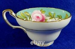 Signed A. Taylor Hand Painted PINK ROSES EB Foley England Tea Cup & Saucer Set