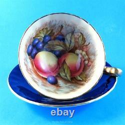 Signed Cobalt D. Jones Fruit Center Aynsley Tea Cup and Saucer Set