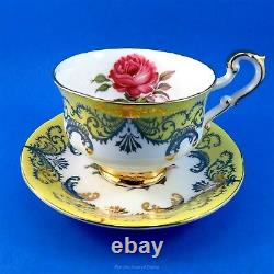 Signed Johnson Yellow and Gold with Antique Rose Paragon Tea Cup and Saucer Set