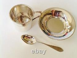 Silver Christening Set coffee tea set cup saucer, spoon cased, boxed 1928