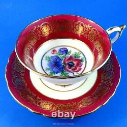 Stunning Anemone Center with a Deep Red Border Paragon Tea Cup and Saucer Set