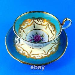 Stunning Gold Garland Swag and Pretty Rose Center Aynsley Tea Cup and Saucer Set