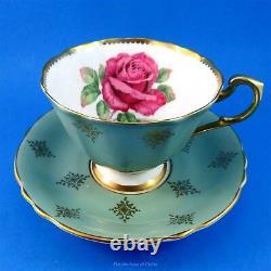 Stunning Huge Pink Rose with Sage Exterior Paragon Tea Cup and Saucer Set