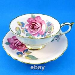 Stunning Huge Rose Bouquet on Pink Background Paragon Tea Cup and Saucer Set