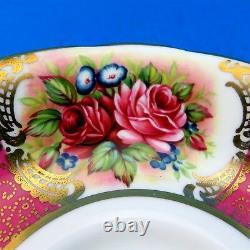 Stunning Rose Bouquet with Dark Pink Panels Paragon Tea Cup and Saucer Set