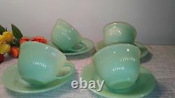 TRUE VINTAGE Jane Ray Jade Ite Tea Cup and Saucer Set Set of 4
