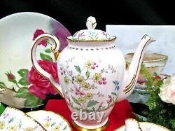 TUSCAN tea cup and saucer pink base painted teaset teapot teacup wildflowers