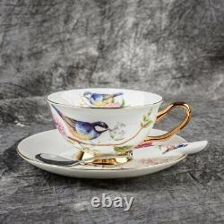 Teacup Tea set Tea Cup Flower Bird Ceramic Tea Cup Saucer Spoon Set Coffee Cup