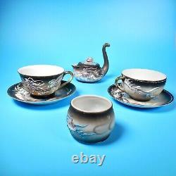 VTG Moriage Dragon Ware Geisha Cup Saucer Tea 7-pc Set Japan Fleetwood Porcelain