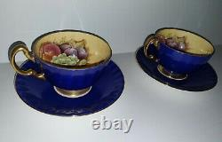 Vintage Aynsley Cobalt blue and gold orchard fruit tea cup and saucer set of 2
