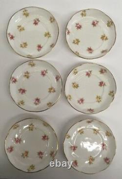 Vintage Aynsley England China Set Tea Cup Saucer Plate Pink Yellow Flowers Gold