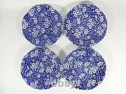 Vintage Burleigh Ware Blue Calico 14pc Teacup Trio Tea Set Cup Saucer Plate