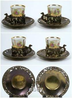 Vintage Demitasse Tea Cup Set of 6 Courting Scene Angel Filigree Metal Holder