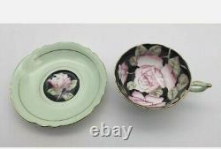Vintage Double Warrant Paragon Tea Cup Saucer Cabinet Set. Floating Cabbage Rose