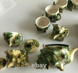 Vintage Green Majolica Conch Oyster Shell Tea Cup & Saucer Set of 10 & Teapot