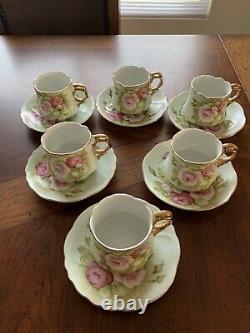 Vintage LEFTON Green Heritage Rose Set of 6 Tea/Coffee Cup & Saucer's #3067