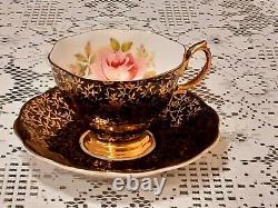 Vintage, Royal Albert Black Gold And Roses Pattern Tea Set, Cup & Saucer