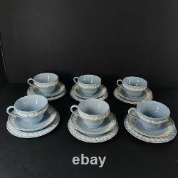 Vintage Set 6 Wedgwood Embossed Queensware Blue Tea Cup &Saucer & Butter plate