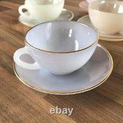 Vintage Set of 6 Arcopal France Harlequin Pastel Opalescent Tea Cups and Saucers