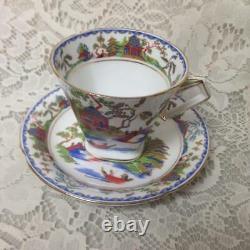 Vintage, Standard China, England, Gaudy Blue Willow Trio Tea Set-Cup, Saucer, BP