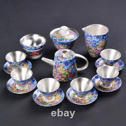 Vintage sterling silver teapot 999 sterling tea set pots gaiwan tea cup saucer