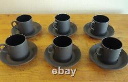 Wedgwood Vintage Black Basalt Cup & Saucer Set with Tea Pot